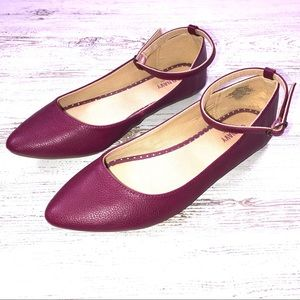 Old Navy Pointy Toe Flats 8 Ankle Strap Raspberry